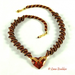 Crystal Heart and Red Garnet Necklace