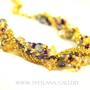 Liquid Gold Gemstone Necklace by Svetlana's Gallery