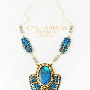 Royal Fantasies Labradorite Necklace and Earrings Set at Svetlana's Gallery