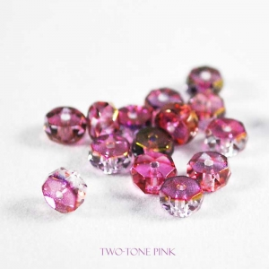 Czech Faceted Glass Disk Bead - Two-Tone Pink