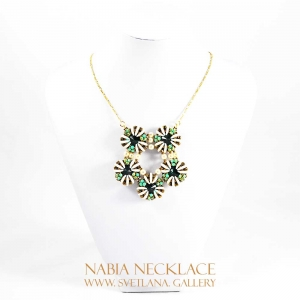 Nabia Necklace - Forest Green, Antique Bronze, Ivory - Svetlana.Gallery