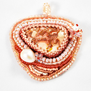 Jasper Pendant Bead Embroidery with handcrafted stone from Nevada and freshwater pearls.