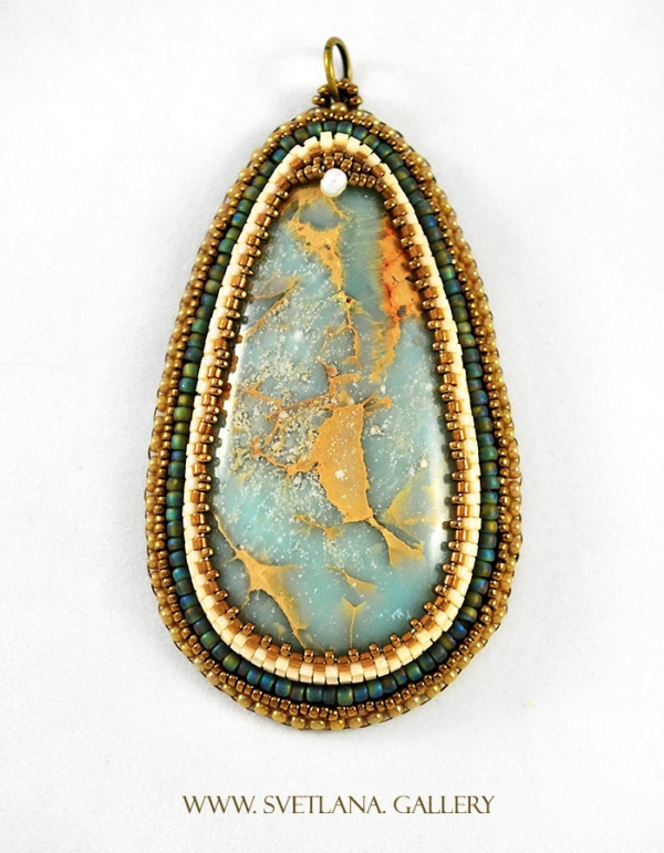 Ocean Dreams Blue Impression Jasper Pendant Bead Embroidery - www.Svetlana.Gallery