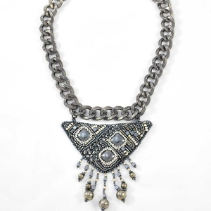 Tribal Metal Necklace - hematite, pyrite and seed bead embroidery - www.Svetlana.Gallery