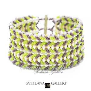 Nortia I Bracelet Pattern Tutorial - Green Purple Version