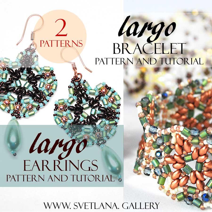 Beaded Earrings Pattern Tutorial Largo Featuring Mini Duo Beads Hex